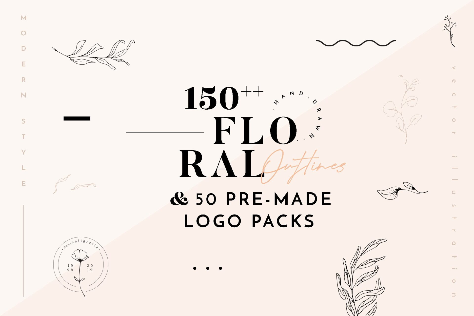 16 Botanical Logo Design Kits For Your Business - 07 Floral 150 Outlines and 50 Premade Pack