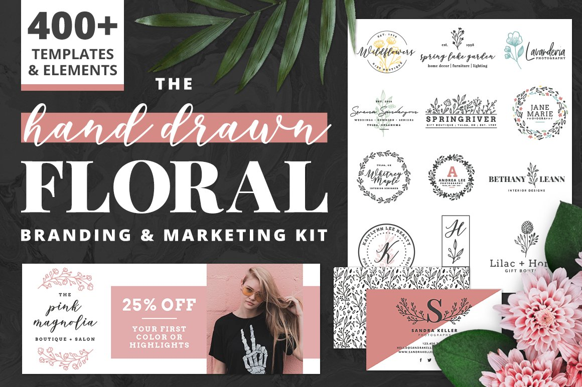 16 Botanical Logo Design Kits For Your Business - 09 The hand drawn Floral Branding and Marketing Kit
