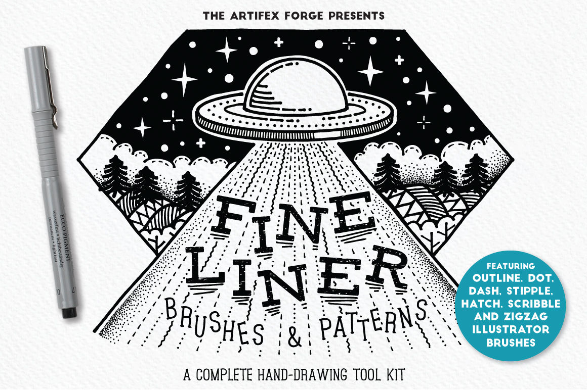 15 of the Best Pen & Pencil Brushes for Adobe Illustrator - fine liner brushes and patterns
