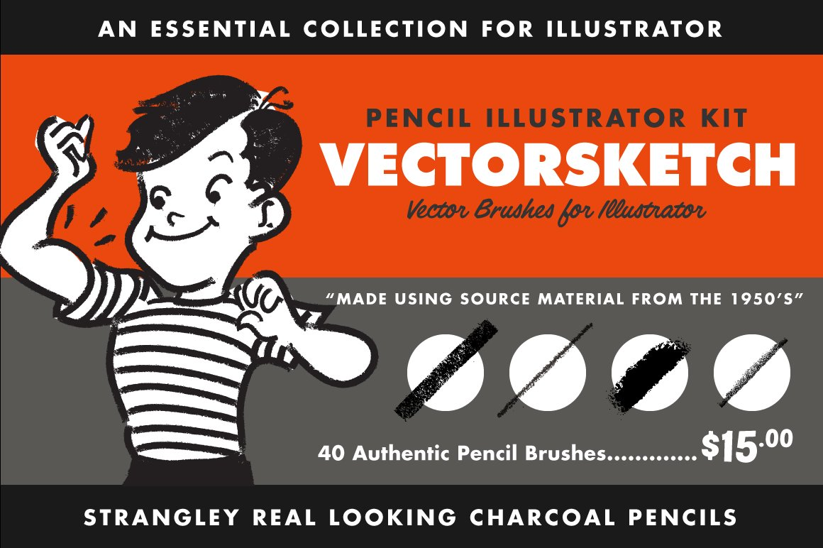 15 of the Best Pen & Pencil Brushes for Adobe Illustrator - vectorsketch cover